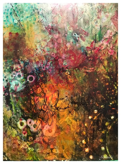 Secret Garden $125 9.25 by 12 acrylics and inks on YUPO