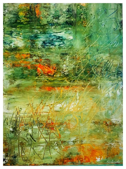 On Golden Pond $125 9.25 by 12 acrylics and inks on YUPO